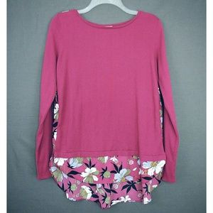 LOFT Purple Floral Back Long Sleeve Flowy Blouse